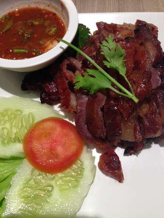 thai food: grilled pork, thai food Stock Photo