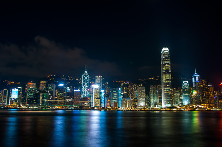 skyscape: the view of city and light at night in Hongkong