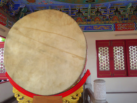 chinese drum: closed up the chinese drum in temple Stock Photo