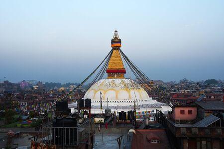 view of Boudhanath stupa in Kathmandu, Nepal Stock Photo