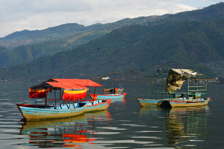 phewa: view of Phewa lake at Pokhara, Nepal
