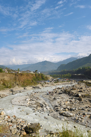 pokhara: view of river with limestone in Pokhara, Nepal Stock Photo