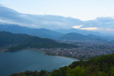 pokhara: top view of Phewa lake and town in Pokhara,Nepal