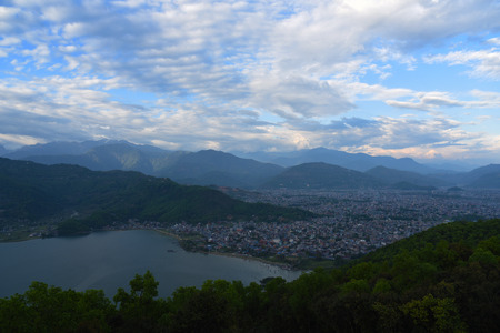 phewa: top view of Phewa lake and town in Pokhara,Nepal