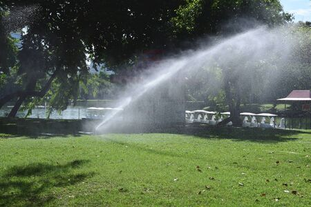 irrigating: closed up the sprinkler waters grass in park