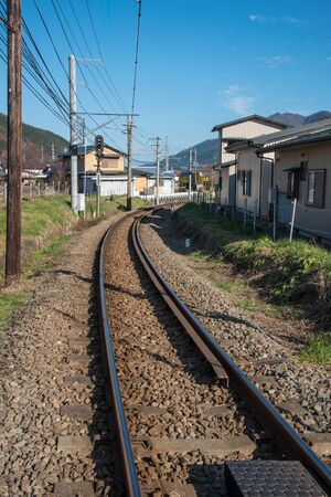 wood railroad: the railroad track in Japan Stock Photo