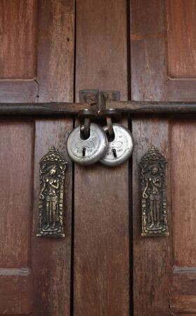 master: closed up the local master key on wood wall in Nepal