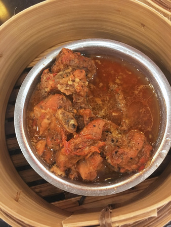 closed up stewed pork with red sauce Stock Photo