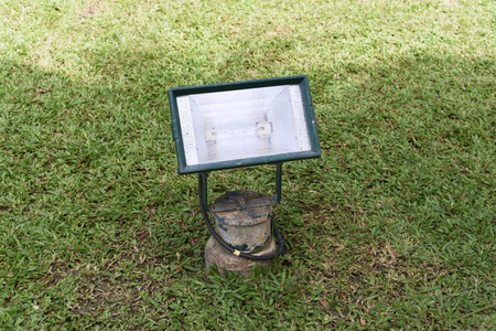 closed up the led spotlights on a ground Stock Photo