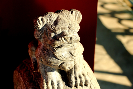 Ancient Chinese Stone Lions With Auspicious Symbols Stock Photo