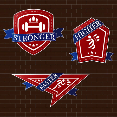 Illustration of gym emblems on brown background