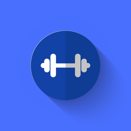 shove: illustration of white barbell icon in flat design with long shadow