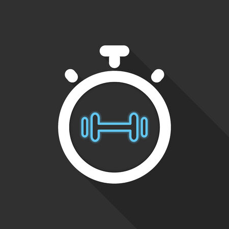 muscule: Stopwatch symbol with blue barbell