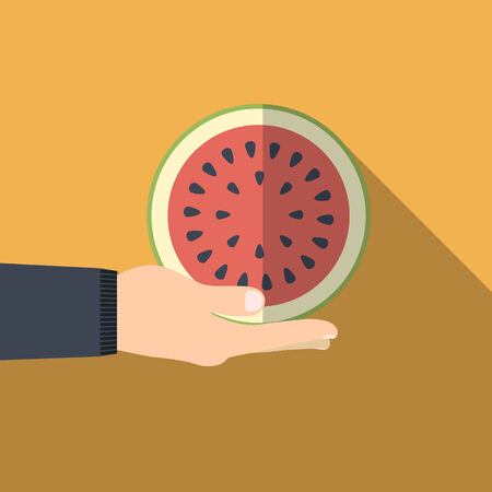 illustration of red watermelon in hand flat Vector