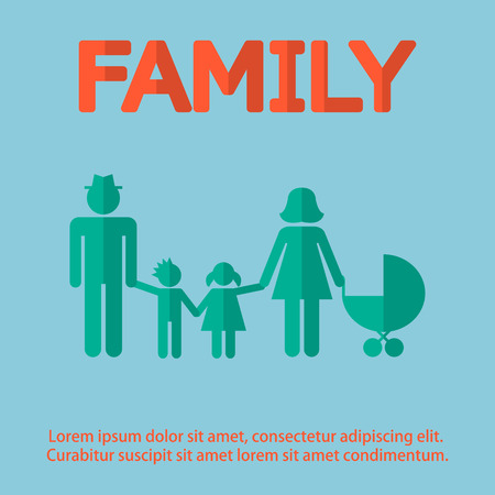 douther: family design over  background vector illustration in flat design
