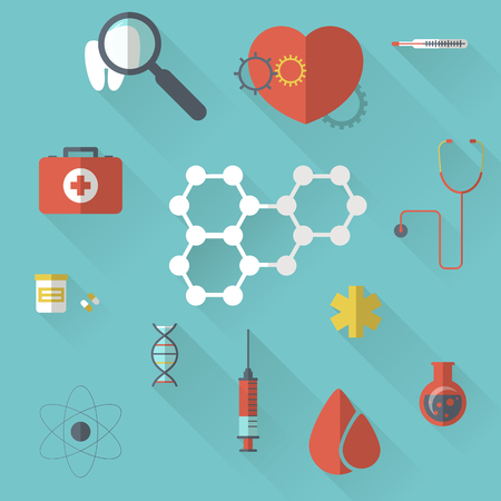 pharma: illustration of Pharma and Healthcare icons in flat