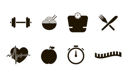 Flat icons set of fitness. Isolated on white background. Vector