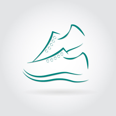 Vector illustration of Sneakers icon in  design with shadow Vector