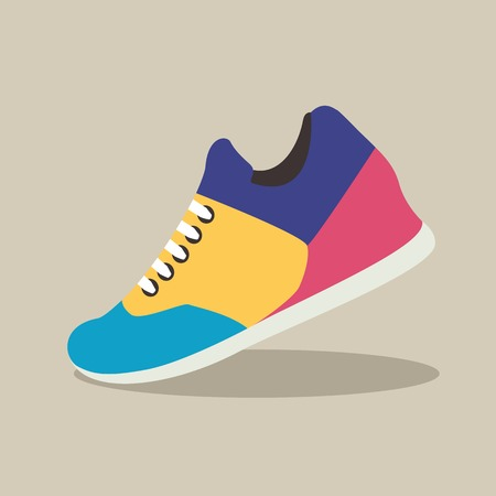 Vector illustration of Sneakers icon in flat design with shadow