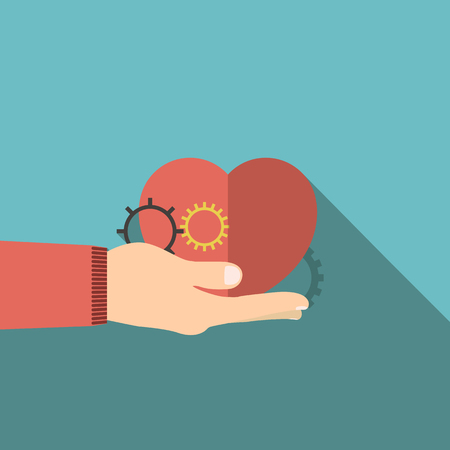 illustration of red heart in hand flat design