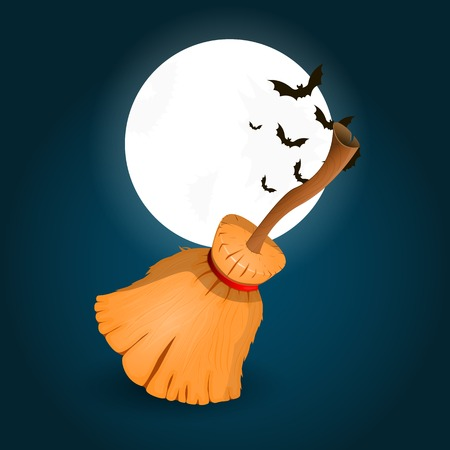 besom: Vectors Illustration of witchs broomstick on background with moon and bat