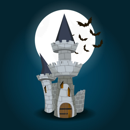 stately: Vector Illustration of Halloween Castle with moon and bat on background Illustration