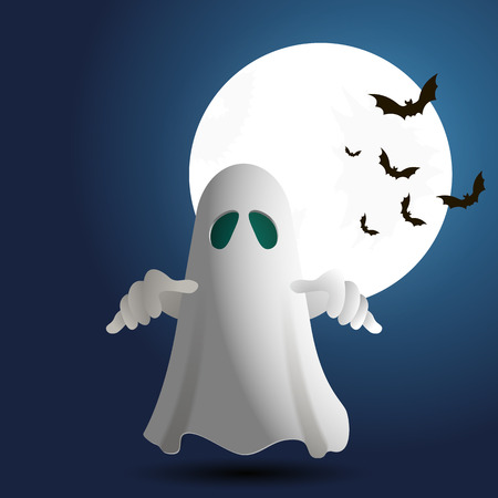 ghost cartoon: Vector Illustration of ghost on bacground with full moon and bat