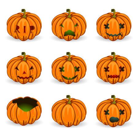 Vector illustration of Halloween pumkins  orange icons set Vector