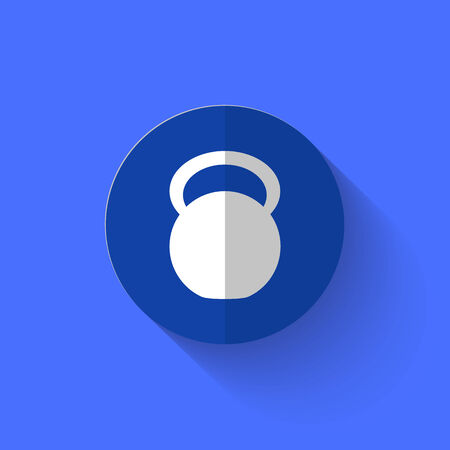 shove: illustration of white weight icon in flat design with long shadow