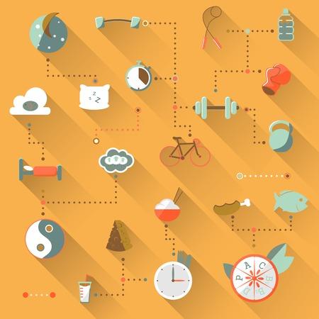 regimen: Illustration of flat sport  in  orange background