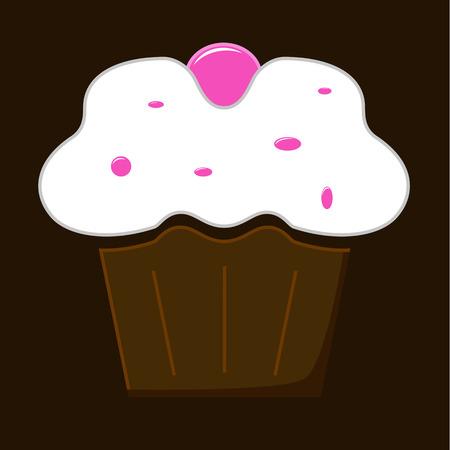 buttercream: Illustration of chocolate cupcake with white cream