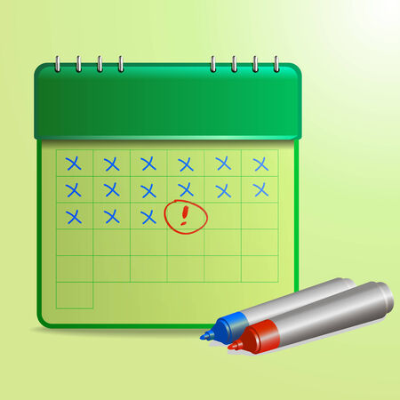 Illustration of calendar with markers Vector