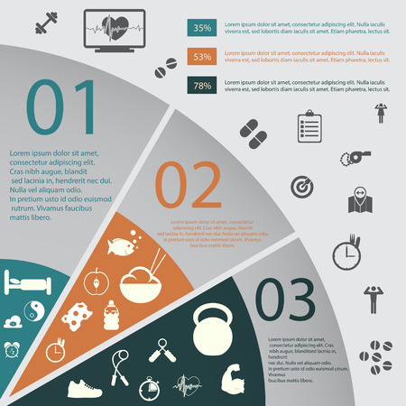 illustration of health lifestyle infographic in flat designed without shadow Çizim