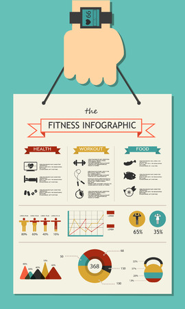 sport body: Fitness infographic in flat designed with hand no shadow Illustration