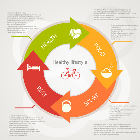 illustration of health lifestyle infographic in flat designed without shadow Vector