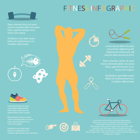 personal trainer: illustration of healthy lifestyle infographic in flat Illustration