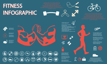 illustration of healthy lifestyle infographic in flat Vector