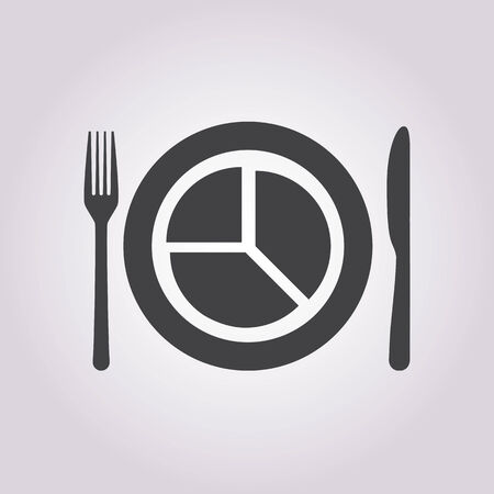 grunge silverware: illustration of business and finance icon plate
