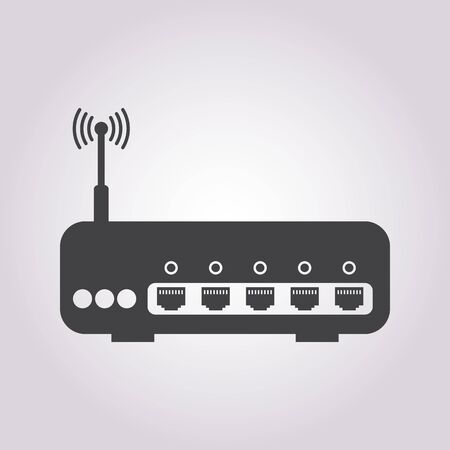 vector illustration of modern b lack icon router