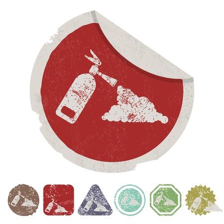 disaster prevention: vector illustration of modern b lack icon fire extinguisher Illustration