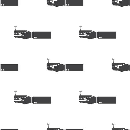 broadband: vector illustration of modern b lack icon router