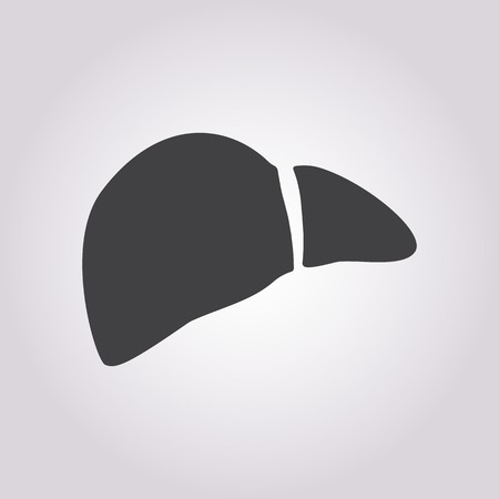 physiology: vector illustration of modern b lack icon liver