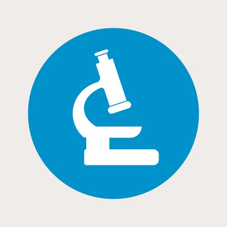microscope lens: vector illustration of modern b lue icon microscope