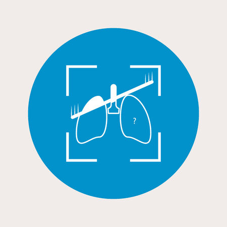 respiratory protection: vector illustration of modern b lue icon lungs