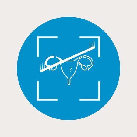 woman vagina: vector illustration of modern  b lue icon woman organ