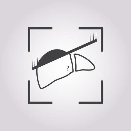 body damage: vector illustration of modern b lack icon scanning liver Illustration