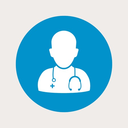 malady: vector illustration of modern b lue icon doctor