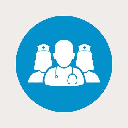 vector illustration of modern  b lue icon medical staff