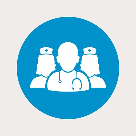 vector illustration of modern  b lue icon medical staff