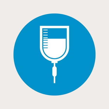 diabetes syringe: vector illustration of modern  b lue icon syringe